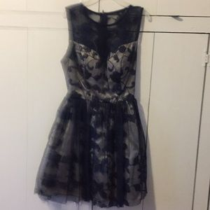 Blue and cream lace dress